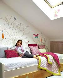 Attic Girls Bedroom Design In White, Turquoise Blue And Pink Colors