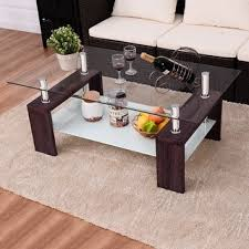 coffee table. Costway Rectangular Tempered Glass Coffee Table W/Shelf Wood Living Room Furniture