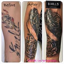 Coverup Tattoo Ink Before Lettering Chicano Rose Black