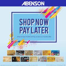 now pay later abenson now pay later abenson credit card promo