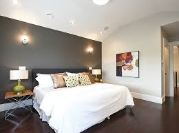 Best Grey Accent Wall In A White Bedroom With Ceiling Lights