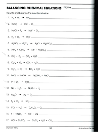 balancing equations worksheet answer key pg some chemical to balance reactions 2 answers page chemfiesta