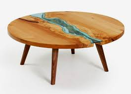 wooden coffee table design with glass