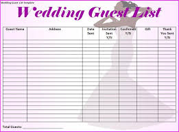 Wedding Guest List Spreadsheet Samplebusinessresume Com