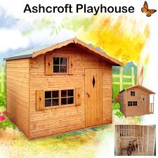 the ashcroft two story playhouse has an upstairs platform complete with ladder and safety rail three perspex glazed windows with shutters and perspex