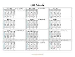 2019 Calendar Horizontal Calendar 2019 With Months In Columns