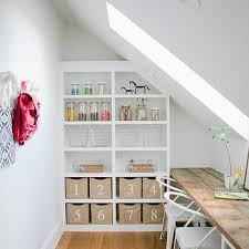 bookcase below sloped ceiling design ideas