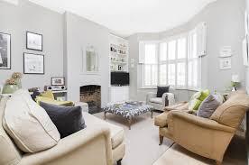 Victorian Terrace Living Room Light Grey Walls Plantation Shutters Nice Bright Room