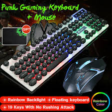 <b>Wired Rainbow LED Back</b> Mute Ergonomic Gaming Keyboard And ...