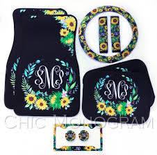 sunflower car accessories set monogrammed car floor mats steering wheel cover seat belt covers license plate frame car coasters sunflowers