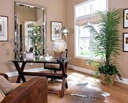 palm tree decor for living room trendy freestanding desk medium tone wood floor home office photo