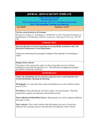 How To Do An Article Review In Apa Format How To Write