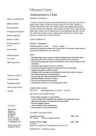Administration Resume Templates Administrative Clerk Resume Clerical Sample Template Job