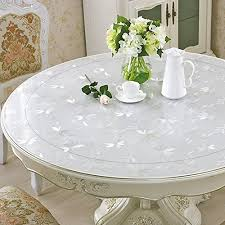 eco thick pvc round table protector clear plastic round tablecloth furniture wipeable waterproof cover water resistant protection pad dining table protector