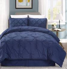 chezmoi collection 3 piece luxurious navy pintuck pinch pleated comforter set