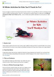 50 winter activities for kids you'll thank us for! my kidstime