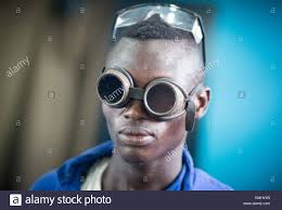 vocational training schools stock photos vocational training accra 8th apr 2015 a welding apprentice wears a pair of