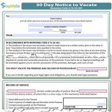30 day notice to landlord form montana notice to vacate