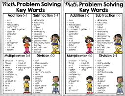 Addition And Subtraction Key Words Anchor Chart 16 Math Key Words For Problem Solving Notebook Anchor Chart