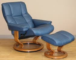 stressless kensington large mayfair paloma oxford blue leather recliner chair by ekornes