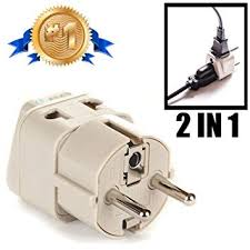 OREI Grounded Universal 2 in 1 Schuko <b>Plug</b> Adapter <b>Type</b> E/<b>F</b> for...