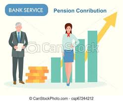 Pension Savings In The Bank Retired With Manager Income Growth Chart Banking Services Financial Report Graph Professional Flat Cartoon Vector