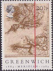 Royal Postage Chart Centenary Of Greenwich Meridian 20 5p Stamp 1984