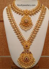 Gold Necklace And Haram Set Designs Mango Necklace And Long Haram Set By Naj Jewellery Nellore