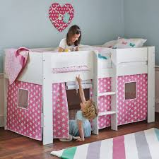 Pink Childrens Bedroom Paddington Mid Sleeper Bed With Pink Star Play Den All