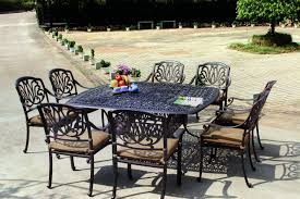 aluminum dining sets patio furniture. amazon.com: darlee elisabeth cast aluminum 9-piece dining set with seat cushions and 64-inch square table, antique bronze finish: garden \u0026 outdoor sets patio furniture