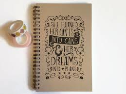 writing journal spiral notebook cute diary small sketchbook memory book she turned her cants into cans and her dreams into plans e