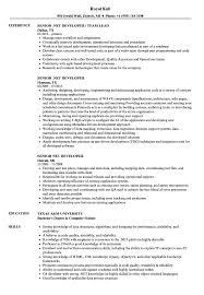Senior Net Developer Resume Samples Velvet Jobs