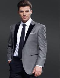 Dark Grey Pants With Light Grey Jacket Custom Made One Button Light Grey Groom Tuxedos Black Vents