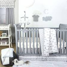 white nursery bedding sets grey and white cloud print 3 piece baby crib bedding set by