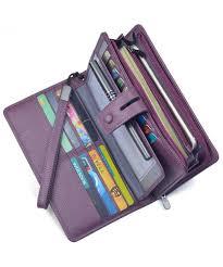 womens leather wristlet organizer checkbook