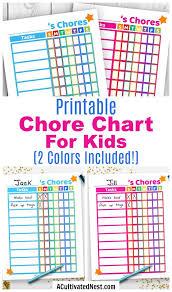 Printable Kids Chore Chart Blue Pink Printable Chore