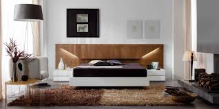 Modern Walnut Bedroom Furniture Lacquered Made In Spain Wood Platform And Headboard Bed