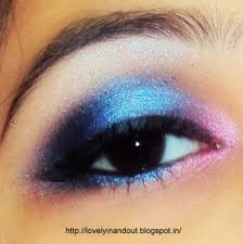 i am just crazy about experimenting with diffe colors in eye makeup and i am back with hot pink and blue bination eye makeup