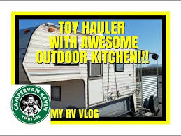 homemade toyhauler with awesome outdoor kitchen