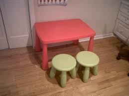 pink plastic playing table with round green stools beautiful kids table and chairs ikea