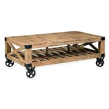image of Scott Living Industrial Coffee Table with Wheels