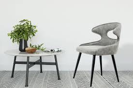 Stuhl 2er Polsterstuhl Design Esszimmerstuhl Leder Optik Metall Holz Beine Grau