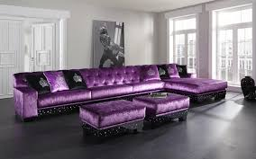 l shaped purple leather sofa and ottoman coffee table with black base added by