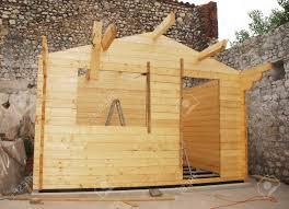Concrete Cabin A Partially Built Small Prefabricated Wooden Cabin On A Concrete