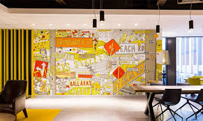 Colorful office space interior design Creative Breathing Life Into Your Space With Colorful Office Wall Graphics Decorilla Breathing Life Into Your Space With Colorful Office Wall Graphics