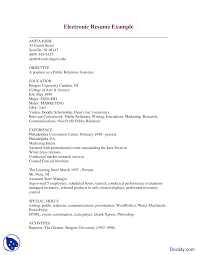Electronic Resume Example Electronic Resume ExampleCommunication In BusinessLecture Handout 9