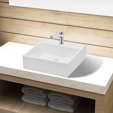 vidaXL Bathroom Sink Basin with Faucet Hole Ceramic White | vidaXL.com