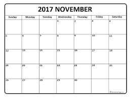 November Calendar 2017 Printable And Free Blank