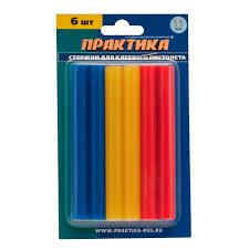 <b>Клеевые стержни ПРАКТИКА</b> 11х100 мм 6 шт <b>3</b> цвета купить ...