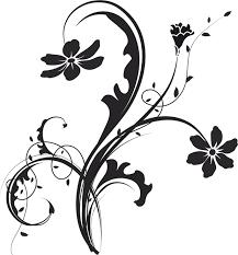 花のイラストフリー素材白黒モノクロno387白黒茎葉つる